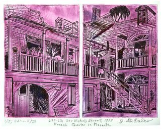 Jerry  Di Falco: '620 and 621 Gov Nichols Street in Magenta', 2016 Intaglio, Architecture.  This DOUBLE- PLATE etching takes its inspiration from a 1937- 38 black and white print photo by lesbian photographer, Francis Benjamin Johnson 1864- 1952. It pictures a back courtyard in New Orleans French Quarter on Gov Nichols Street. The work is executed in a rich violet mix of oil- based...