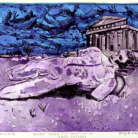 Jerry  Di Falco Artwork ANCIENT TEMPLE WITH SCULPTURE BY IGOR MITORAJ, 2015 Etching, Surrealism
