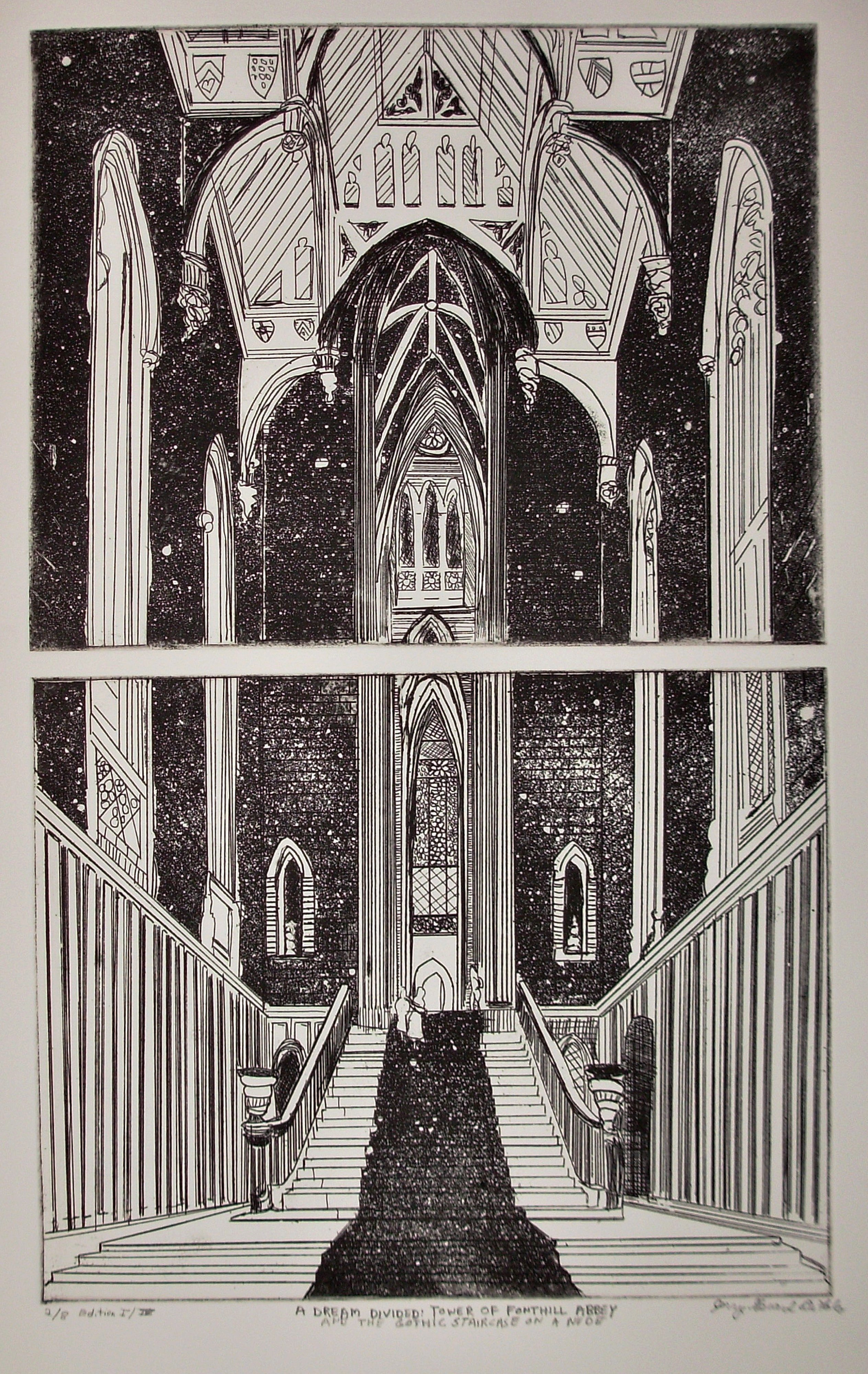 Jerry  Di Falco: 'A DREAM DIVIDED AT FONTHILL ABBEY ', 2012 Etching, Optical. Full title is, A DREAM DIVIDED TOWER OF FONTHILL ABBEYThis amazing and hypnotic etching was hand printed and published by the artist at The Center for Works on Paper at 705 Christian Street in South Philadelphia, Pennsylvania, which is associated with The Philadelphia Museum of Art, 26th and the ...