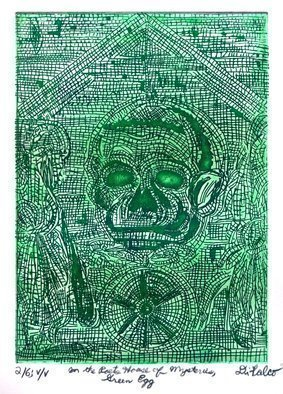 Jerry  Di Falco: 'A Green Egg Awaits', 2016 Intaglio, Zeitgeist. Artist Description:  FULL TITLEaEURoePOMPEII IN THE TRAGIC POETaEURtmS HOUSE OF MYSTERIES, A GREEN EGG AWAITS THE WITCHaEURtmS CIRCLEaEURThe zinc plate used for this etching measured 7 seven- inches high by 5 five- inches wide 17. 780cm by 12. 700cm, which is also the imageaEURtms size. ...