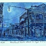 BLUE FRENCH QUARTER GHOSTS AT NIGHT By Jerry  Di Falco
