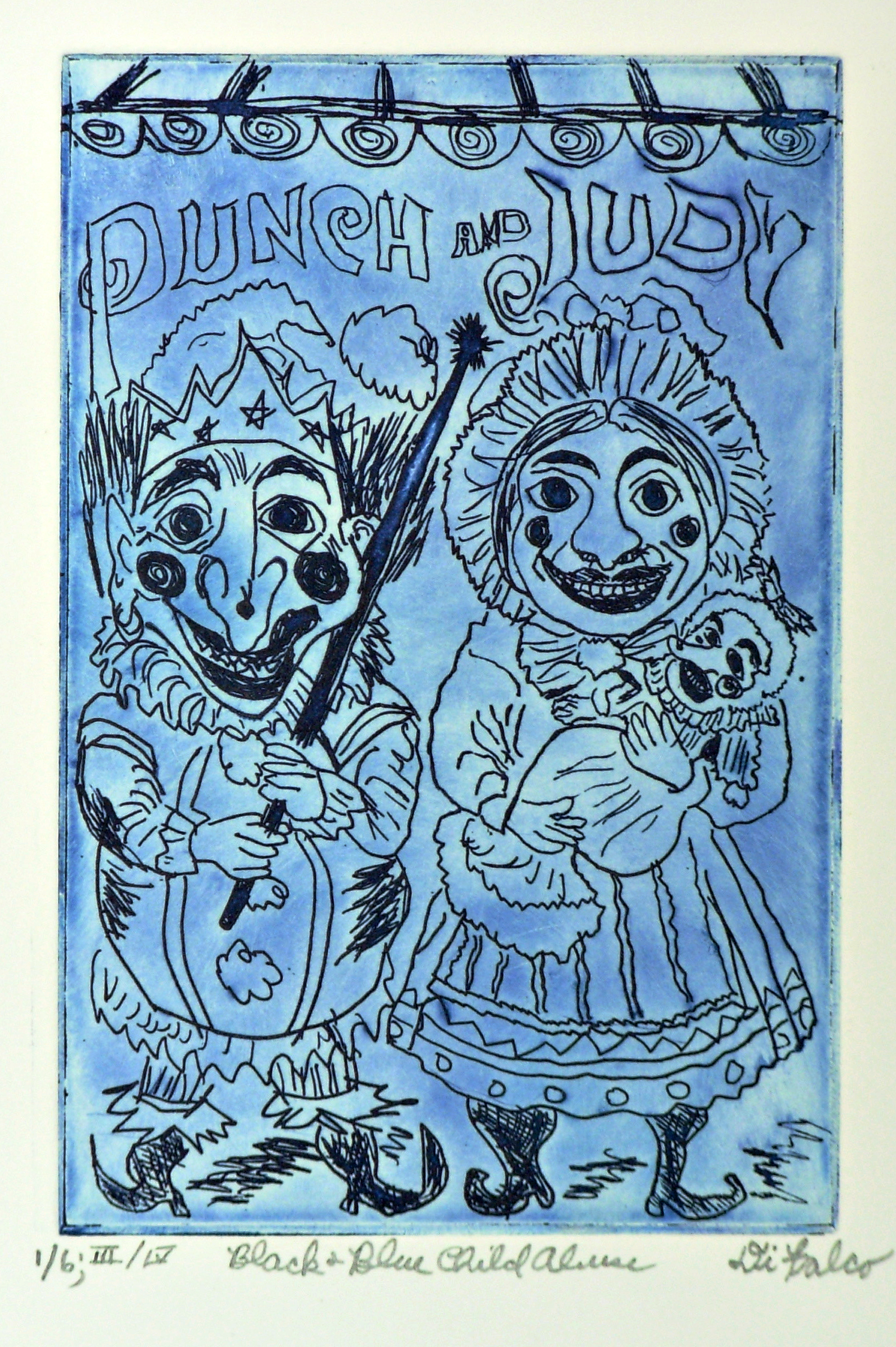 Jerry  Di Falco: 'Black and Blue Child Abuse', 2016 Intaglio, Death. Artist Description:  Black and Blue Child Abuse Punch and Judy - Limited Edition 1 of 6Printmaking Drypoint, Etching, Oil, Paper and Ink on Paper and Other. FOUR EDITIONS OF SIX PRINTS EXECUTED BY THE ARTIST.   IIIIVThis etching on zinc- plate plate is four inches wide by six highs high ...