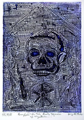 Jerry  Di Falco: 'Blue Pompeii Poets House of Mysteries', 2016 Intaglio, Mythology. Artist Description: TITLE aEURoeBLUE POMPEII IN THE POETaEURtmS HOUSE OF MYSTERIES . . . . aEURDimensions The zinc plate used for this etching measured 7 seven- inches high by 5 five- inches wide 17. 780cm by 12. 700cm, which is also the imageaEURtms size. The paper print measures 12 twelve- inches high ...
