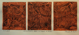 Jerry  Di Falco Artwork 'CEILING OF BATH ABBEY IN SHADES OF SUNSET', 2015. Etching. Geometric. Artist Description: Printmaking: Aquatint, Etching and Drypoint on Paper and Other. Frame Size: 12 H x 20 W x 1 in NOTE: The � �ARTWORK IMAGE ......