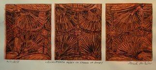 Jerry  Di Falco Artwork CEILING OF BATH ABBEY IN SHADES OF SUNSET, 2015 Etching, Geometric