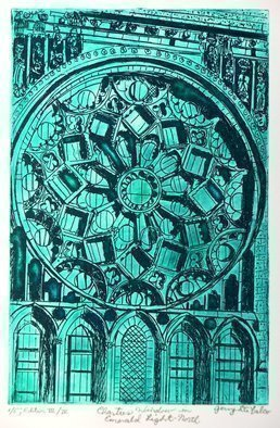 Jerry  Di Falco: 'CHARTRES WINDOW EMERALD AT NORTH', 2016 Etching, Urban. Artist Description:  My etching, CHARTRES WINDOW IN EMERALD LIGHT- - NORTH, is adapted from a Nineteenth Century photograph of the Rose Window in the North Transept of Chartres Cathedral in France. The window itself, as an architectural element, holds many secrets in its various design details moreover, this window alone without ...