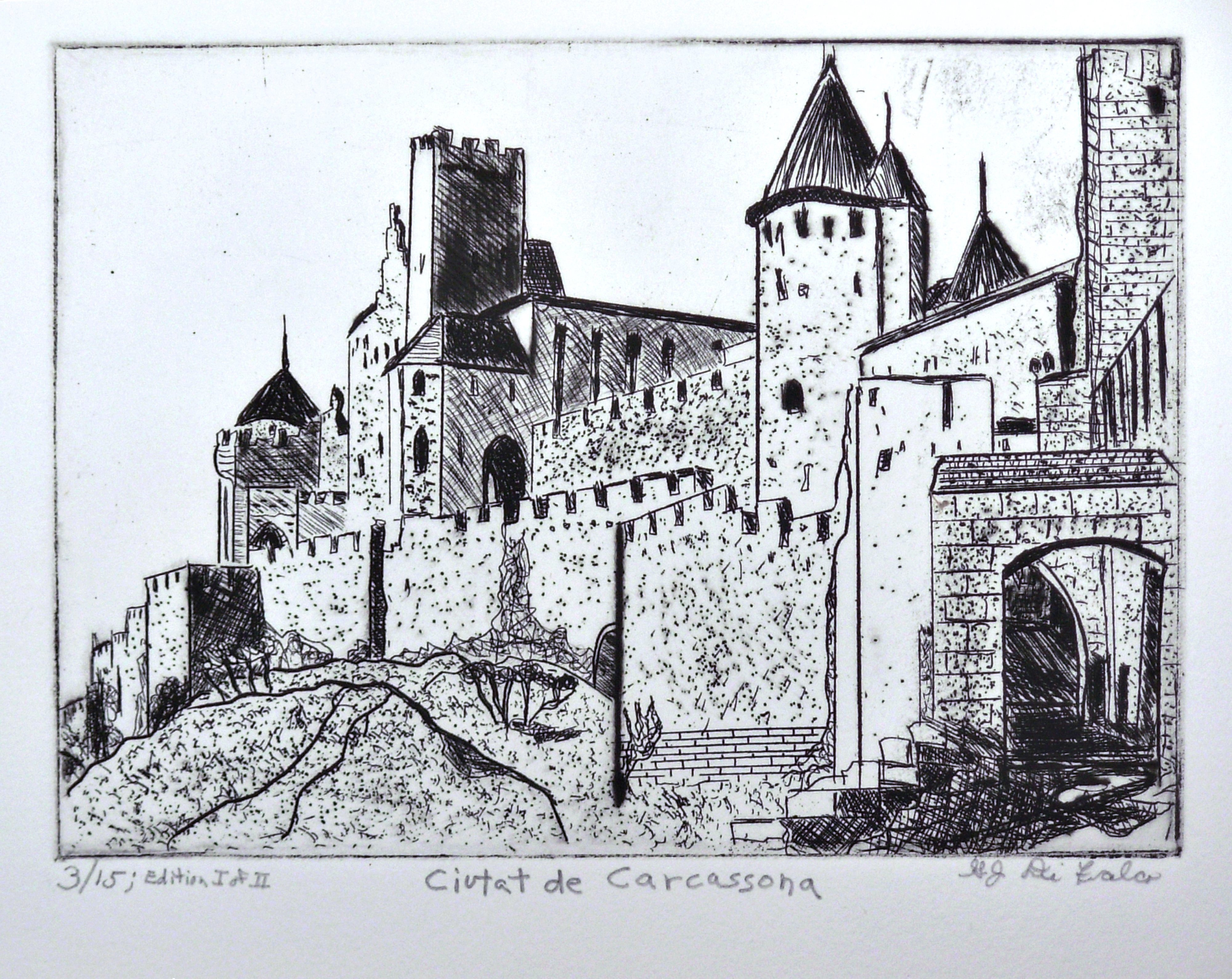 Jerry  Di Falco: 'CUITAT DE CARCASSONNE', 2012 Etching, Landmarks. The title translates as, City of Carcassonne. The work was hand printed and published by the artist at The Center for Works on Paper in Philadelphia, Pennsylvania. Please note that this etching is shipped to the collector without a frame or mat. This keeps the price low and allows the ...