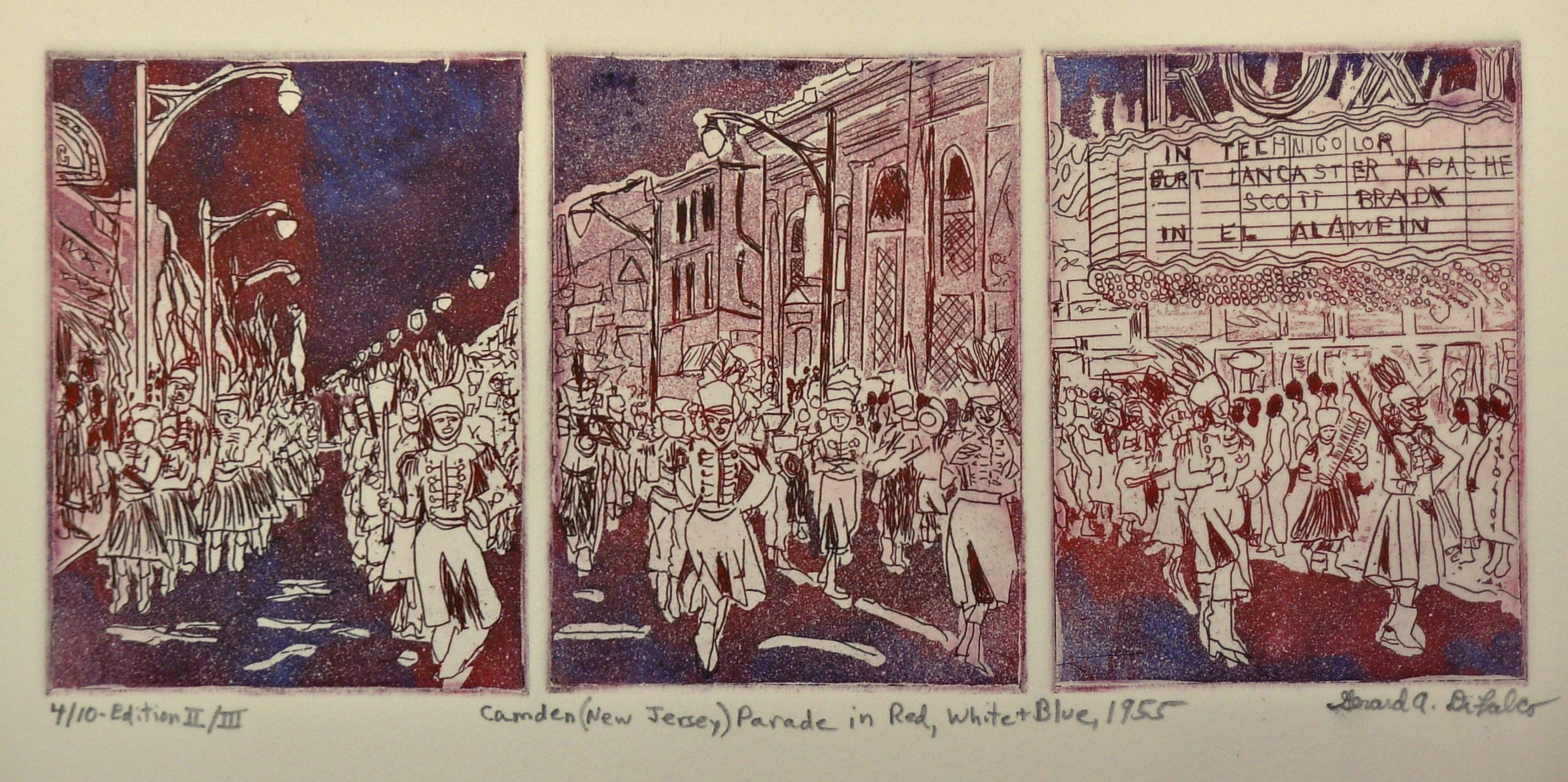 Jerry  Di Falco Artwork Camden New Jersey Parade in Red White and Blue 1955, 2014 Intaglio, Americana