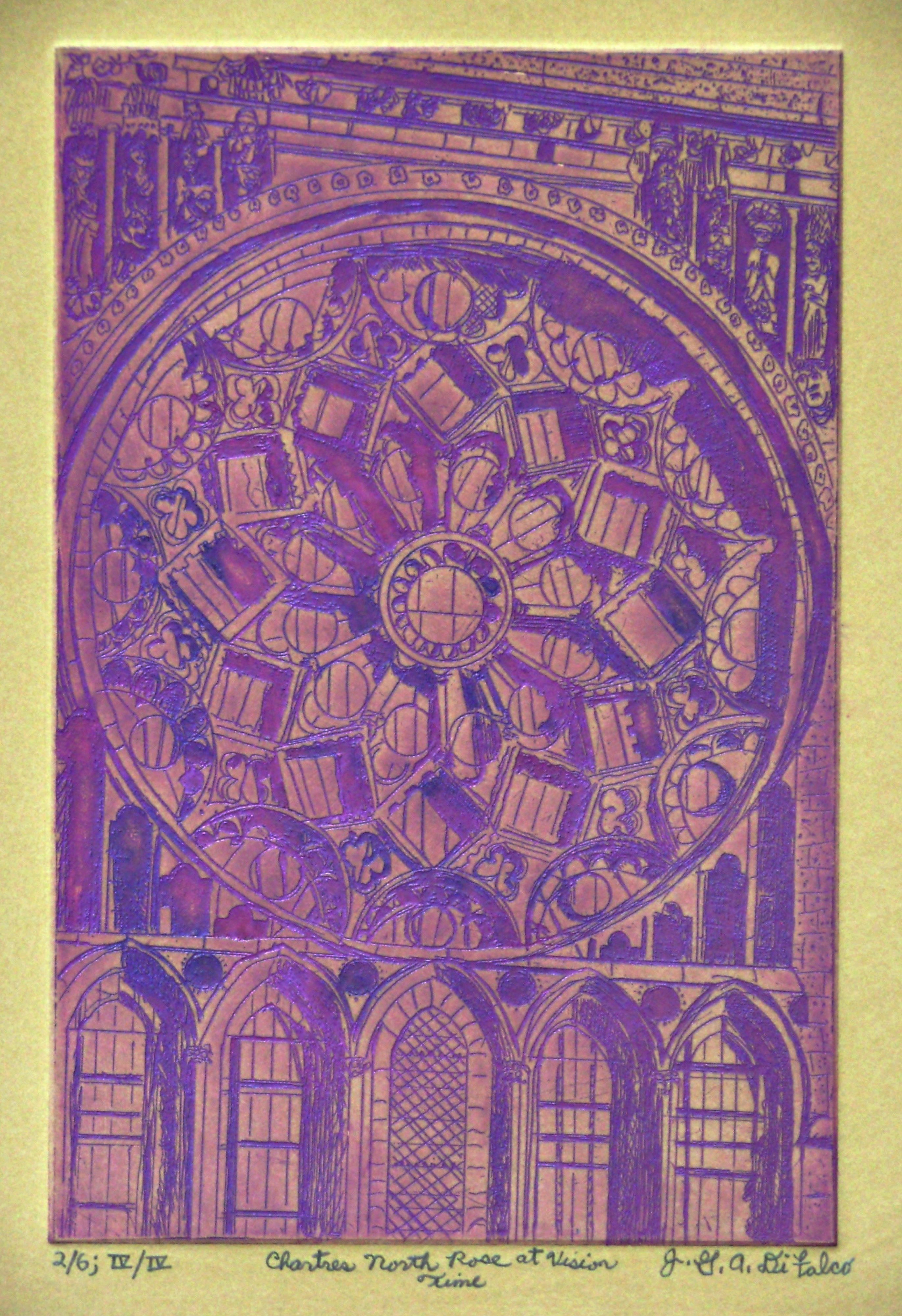 Jerry  Di Falco: 'Chartres North or Rose at Vision Time', 2016 Intaglio, Geometric. This etching, CHARTRES NORTH Rose At Vision Time, is adapted from a Nineteenth Century photograph of the Rose Window in the North Transept of Chartres Cathedral in France. The window, aside from being an architectural meditation, holds Judaic, Christian, and Islamic secrets in its design details, which include floating Hebrew ...