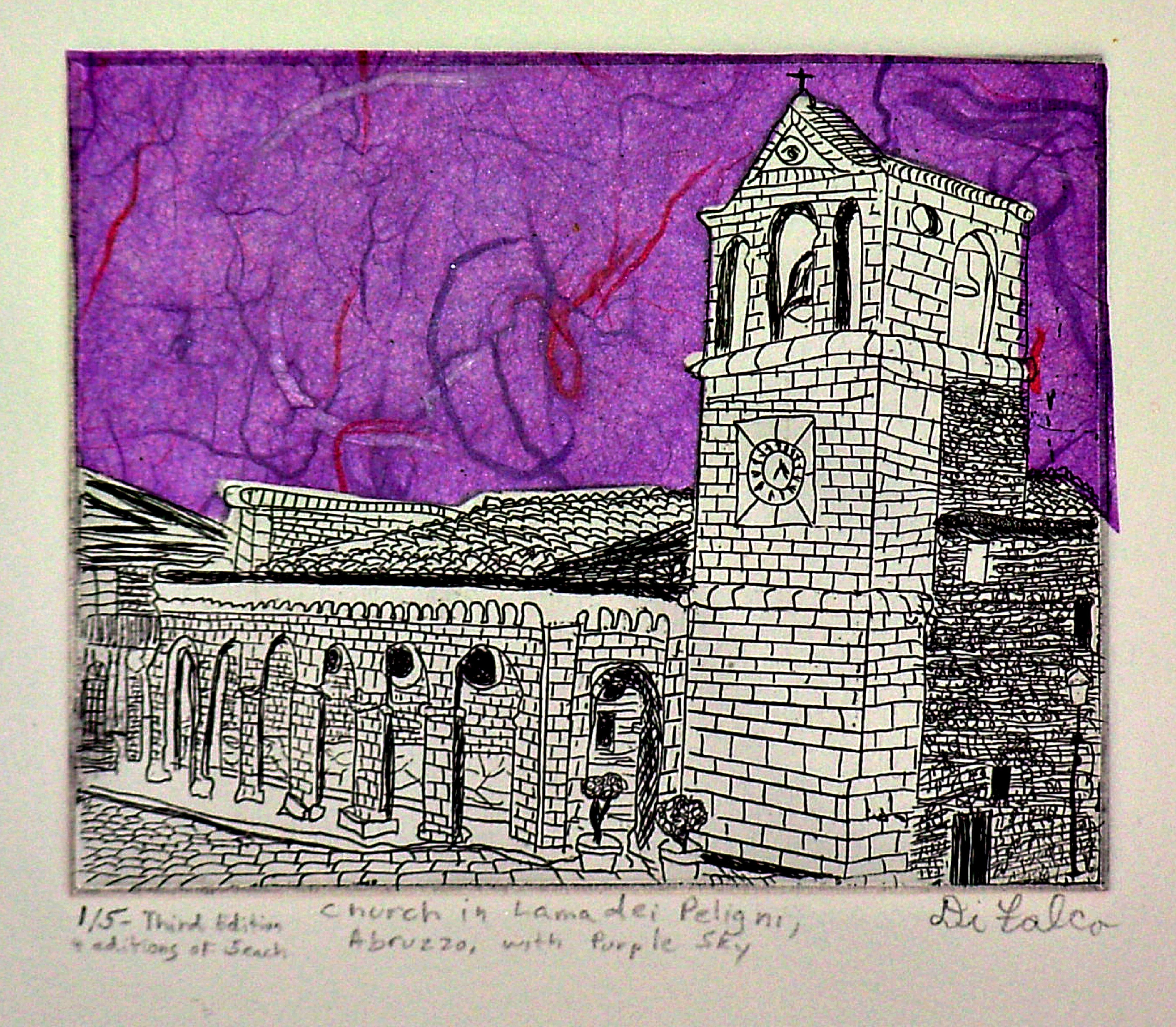 Jerry  Di Falco: 'Church In Abruzzo', 2010 Mixed Media, Political. FULL TITLE IS, Church In Lama dei Peligni Abruzzo with Purple Sky. I hand printed and published this edition at The Center for Works on Paper in Philadelphia, Pennsylvania, USA. Please note that this etching is shipped to the collector without a frame or mat. This keeps the price low ...