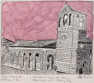 Jerry Di Falco Artwork Church In Lama dei Peligni Abruzzo with Cherry Sky, 2010 Intaglio, Architecture