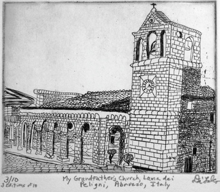 Jerry Di Falco Artwork Church of my Grandfather in Lama dei Peligni Abruzzo Italy, 2010 Intaglio, Cityscape