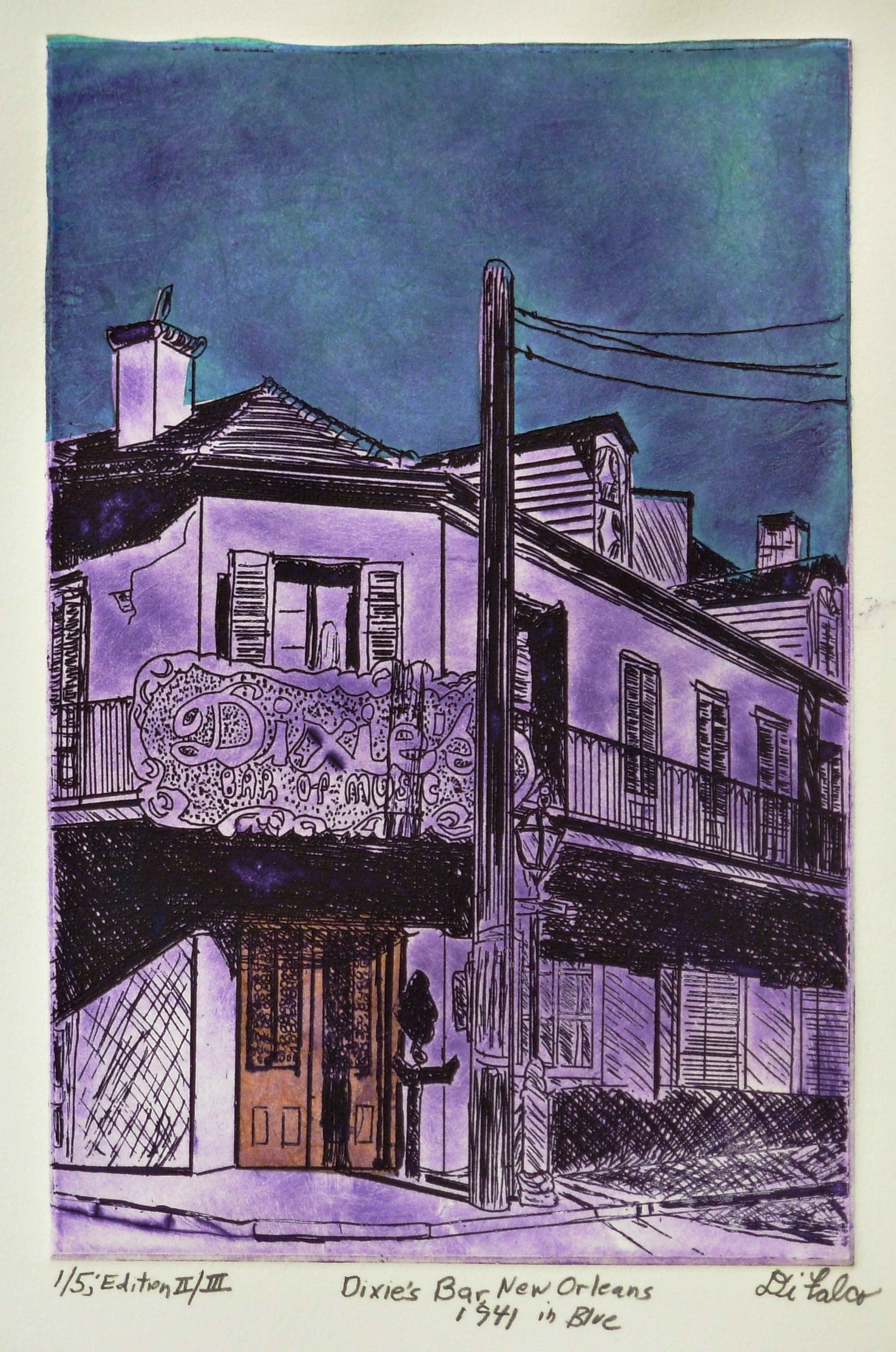 Jerry  Di Falco: 'DIXIES BAR IN NEW ORLEANS BLUE 1941', 2016 Intaglio, Music. This etching, which is part of my New Orleans Collection, shows the building at 701 Bourbon Street at the intersection of St. Peters. The structure is also featured in another DiFalco etching that shows the building when it functioned in the 1930s as the POM POM BAYOU GROCERY.  This zinc ...