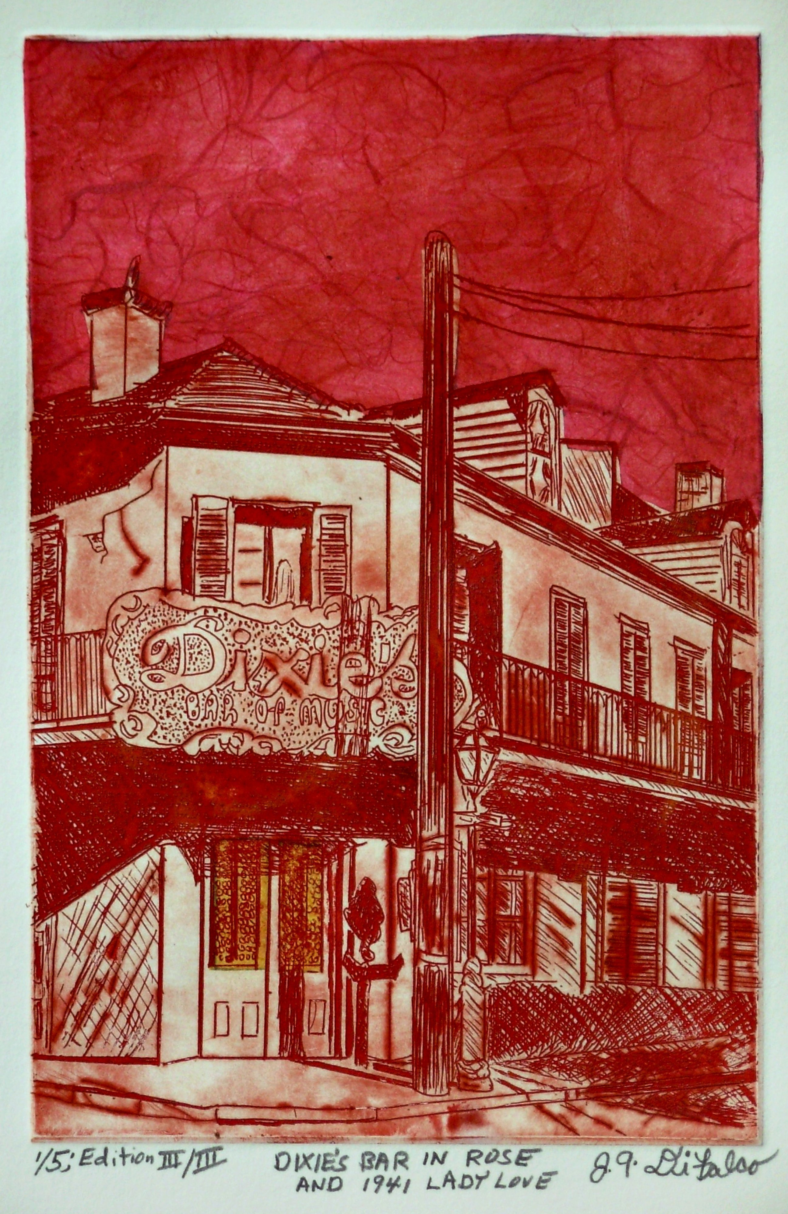 Jerry  Di Falco: 'DIXIES BAR IN ROSE AND 1941 LADY LOVE', 2016 Etching, Vintage. Artist Description: DIXIES BAR IN ROSE AND 1941 LADY LOVE. This etching, which is part of my New Orleans Collection, shows the building at 701 Bourbon Street at the intersection of St. Peters. The structure is also featured in another DiFalco etching that shows the building when it functioned in ...