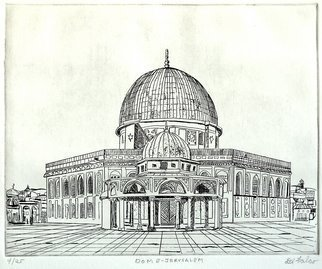 Jerry  Di Falco: 'DOME OF JERUSALEM', 2010 Etching, Islamic. Artist Description:  This print is from my series entitled MYSTERIOUS PLACES/ SACRED SPACES. The etching techniques include intaglio and drypoint. This work is from one very limited editions of twenty- five prints in my own blend of black oil- based ink[ Charbonnel brand from France] printed on white RIVES BFK ...