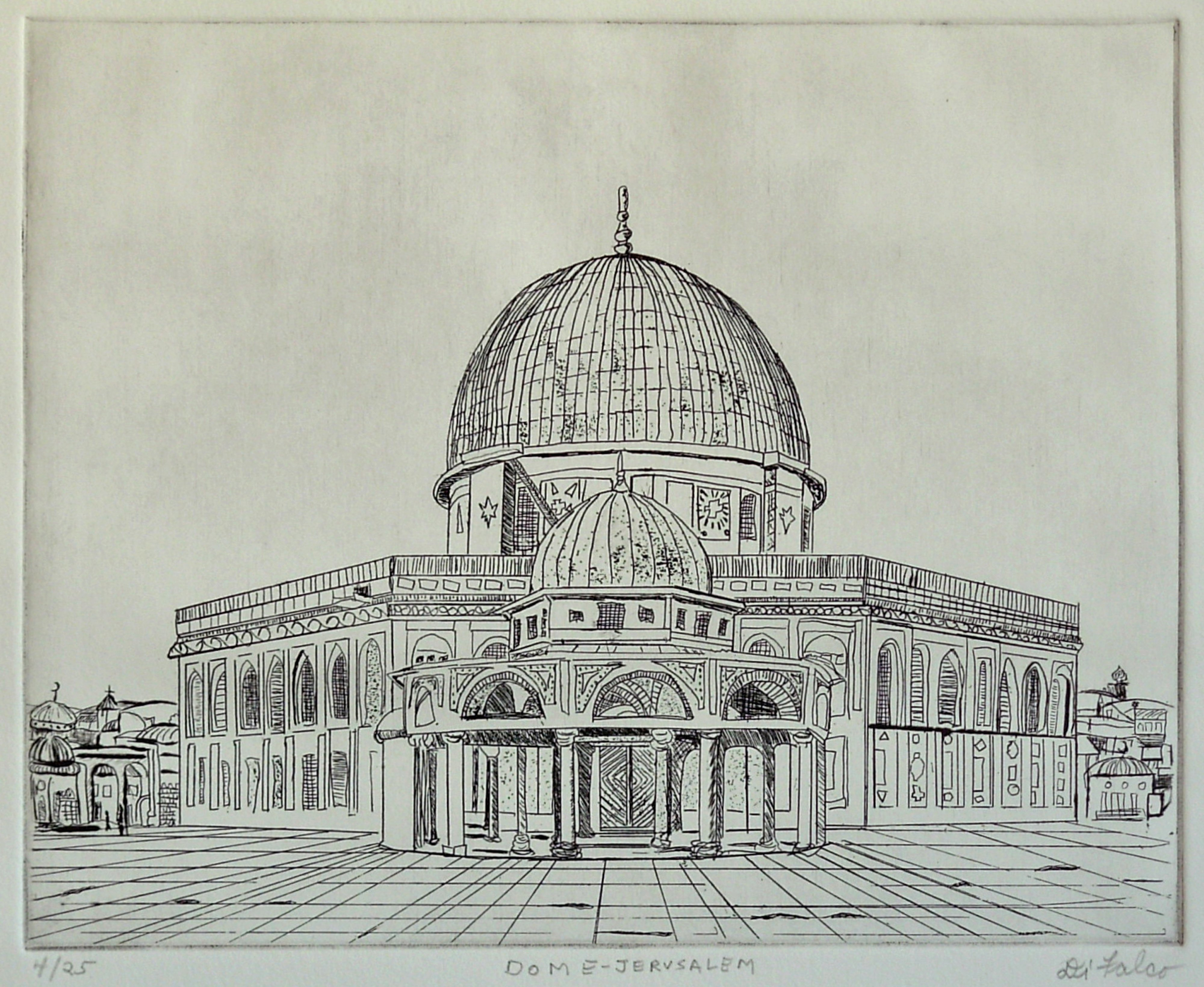 Jerry  Di Falco: 'DOME OF JERUSALEM', 2010 Etching, Islamic. Artist Description:  This print is from my series entitled MYSTERIOUS PLACES AND SACRED SPACES. The etching techniques include intaglio and drypoint. This work is from one very limited editions of twenty- five prints in my own blend of black oil- based ink printed on white RIVES BFK papeR. The image ...