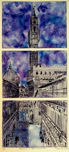 Jerry  Di Falco  'FLORENCE IN BLUE AND VIOLET 1881', created in 2012, Original Watercolor.
