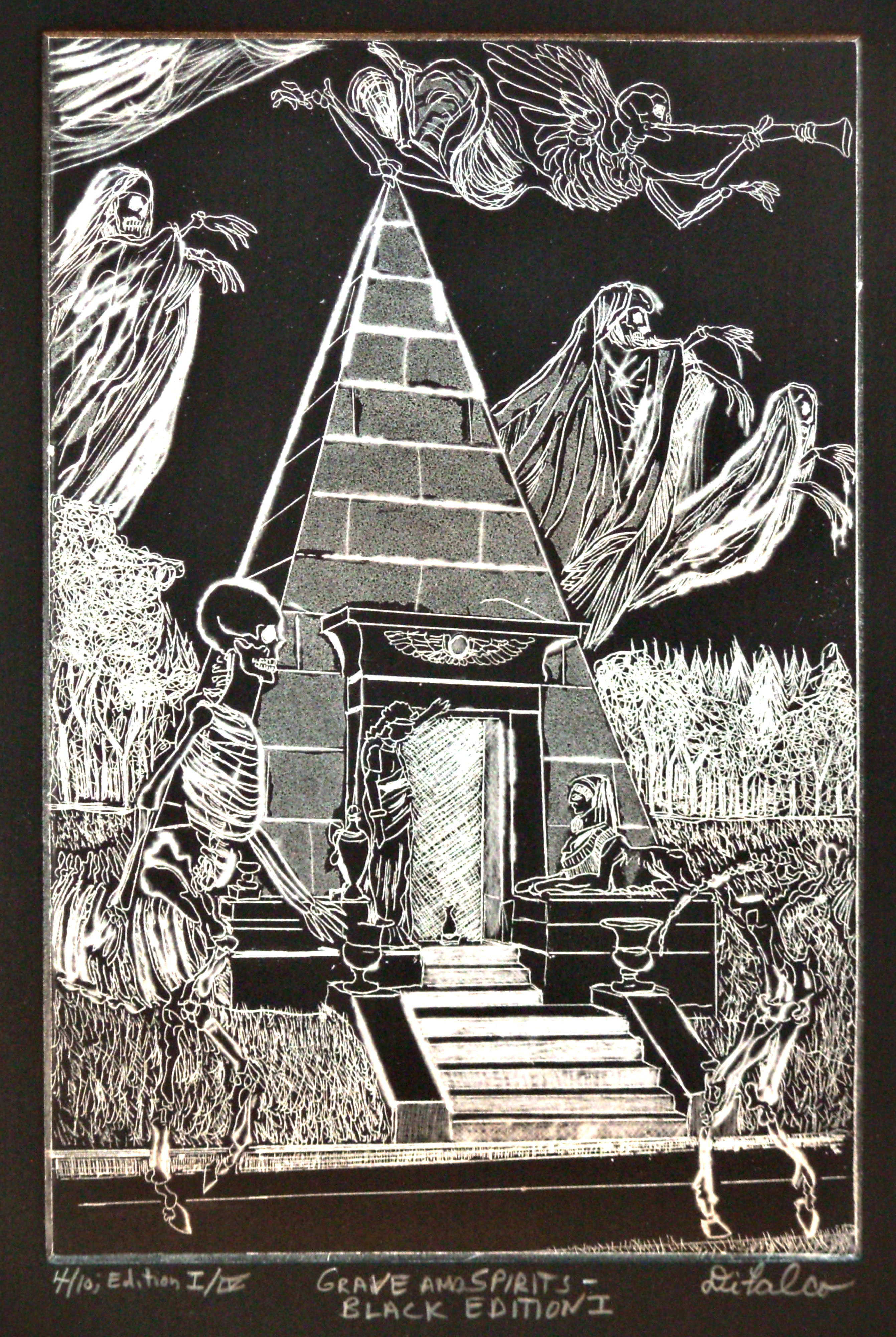 Jerry  Di Falco Artwork GRAVE AND SPIRITS IN NEW ORLEANS AT BRUNSWIG TOMB, 2013 Etching, Ethereal
