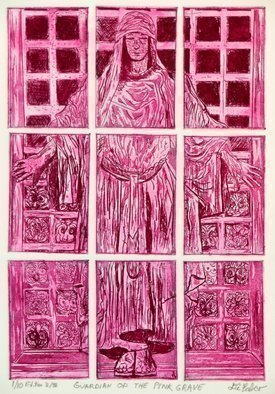 Jerry  Di Falco Artwork GUARDIAN OF THE PINK GRAVE, 2014 Etching, Magical