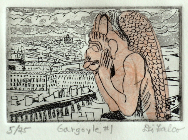 Jerry  Di Falco  'Gargoyle Number One', created in 2011, Original Watercolor.