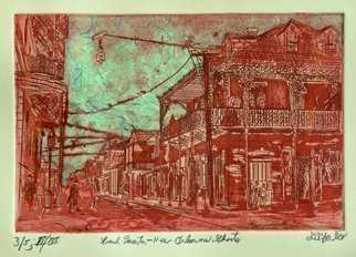 Jerry  Di Falco: 'Ghosts in The French Quarter of New Orleans', 2016 Intaglio, Atmosphere. Artist Description: Inspired by an archived photo from the US Library of Congress of New Orleans French Quarter in 1890. This is one of about twelve etchings in my New Orleans series, a group of works that examines the architecture, history and culture of old and contemporary New Orleans. French ...