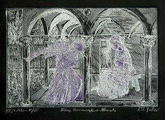 Jerry  Di Falco: 'Ghosts of the Lilac Annunciation', 2016 Intaglio, Surrealism. This edition of original etchings was based upon a Fresco by Fra Angelico entitled The Annunciation, executed between 1442 and 1443 at the Convent of San Marco in Florence. The zinc plate I used measured six inches high by nine inches wide, or 15. 240cm by 22. 860cm. The print ...
