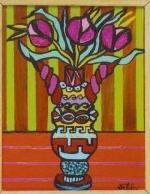 Jerry  Di Falco: 'Gnostic Vase of the Threefold Secret of Sophia', 2006 Acrylic Painting, Still Life. Price does not include shipment costs.Acrylic on stretched canvas, framed with white pine stripping....