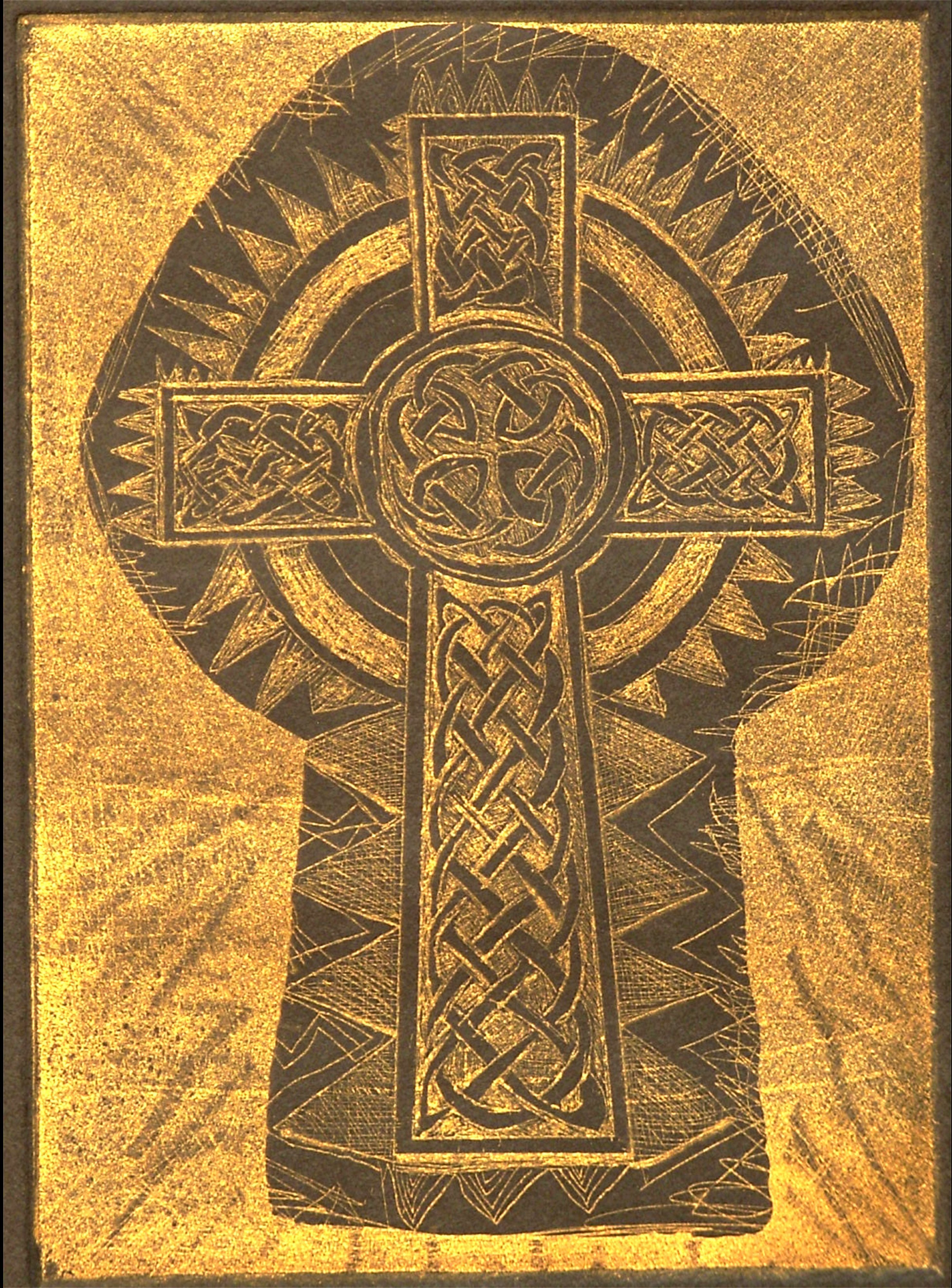Jerry  Di Falco: 'Gold Keyhole and Celtic Cross', 2009 Etching, Christian. Image size is 7 high by 5 wide, or 17. 8 cm x 12. 7 cm.  The print size is 11 inches high by 10 inches wide.  Special blend of oil- based ink  on Stonehenge black paper.  Edition of ten black ink on white paper ten of gold ink on ...