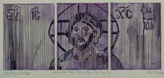 Jerry  Di Falco: 'HAVANA HOLY CARD HIP OP IN PURPLE', 2015 Intaglio, Christian. This etching is based on an optical- line, ink drawing that I executed in 1971, however in this work I also combined elements of a Cuban propaganda billboard of Che Guevara with a Byzantine icon of Christ. The only studio ETCHING technique I used was INTAGLIO, and the work was ...