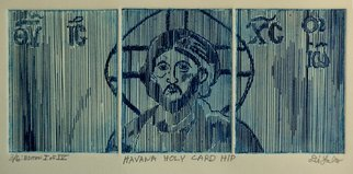 Jerry  Di Falco: 'Havana Holy Card Hip', 2015 Intaglio, Christian. This etching is based on an optical- line, ink drawing that I executed in 1971. However in this work I also combined elements of a Cuban propaganda- style billboard of Che Guevara with a Byzantine icon of Christ. The only studio ETCHING technique I used was INTAGLIO, and the work ...