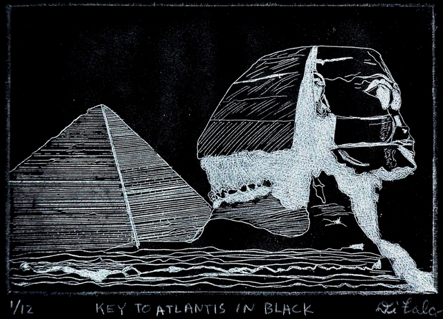 Jerry  Di Falco  'KEY TO ATLANTIS IN BLACK', created in 2012, Original Watercolor.