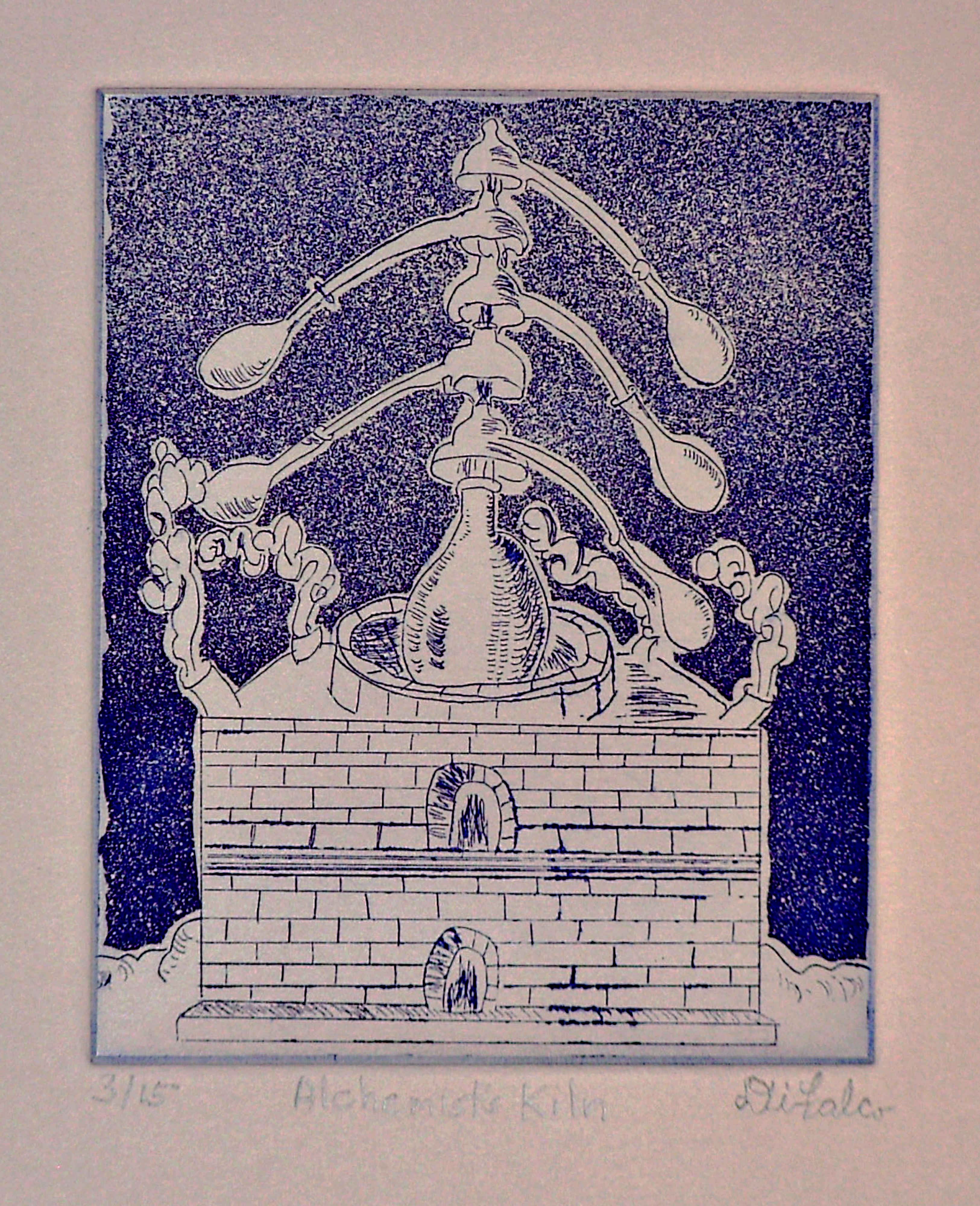 Jerry  Di Falco: 'Kiln of the Alchemist', 2010 Intaglio, Kabbalah. Artist Description:    This mixed technique etching ( intaglio, dry- point, aquatint) is executed using a hand mixed Blue- Violet oil- based etching ink ( all Charbonnel brand from France) on Italian mouldmade grey paper ( called Magnani Pescia) from the town of Cartiera Magnani, where papermaking has thrived for over 400 years. This ...