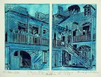 Jerry  Di Falco: 'L Heure Bleue chez Nouvelle Orleans', 2016 Intaglio, Cityscape. THE BLUE HOUR IN NEW ORLEANS. This Second Edition DOUBLE- PLATE etching takes its inspiration from a black and white photo archived in the US Library of Congress, Washington, DC, Carnegie Collection, Prints and Pictures Department. The scene from 1937- 1938 was shot by lesbian photographer, Francis Benjamin Johnson, born ...