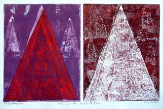 Jerry  Di Falco: 'Lace and the Lunar Organsm', 2016 Monoprint, Geometric. Artist Description: This One Of A Kind print was executed on two zinc plates placed side by side on the printing press. The individual plates measured ten inches high by eight inches wide, making the overall image ten- inches high by sixteen inches wide. I employed oil- based etching ink, ...