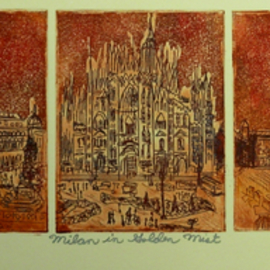 Jerry  Di Falco Artwork MILAN IN GOLDEN MIST, 2016 Etching, Mystical