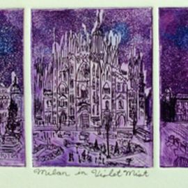 Jerry  Di Falco Artwork MILAN IN VIOLET MIST, 2016 Etching, Cityscape