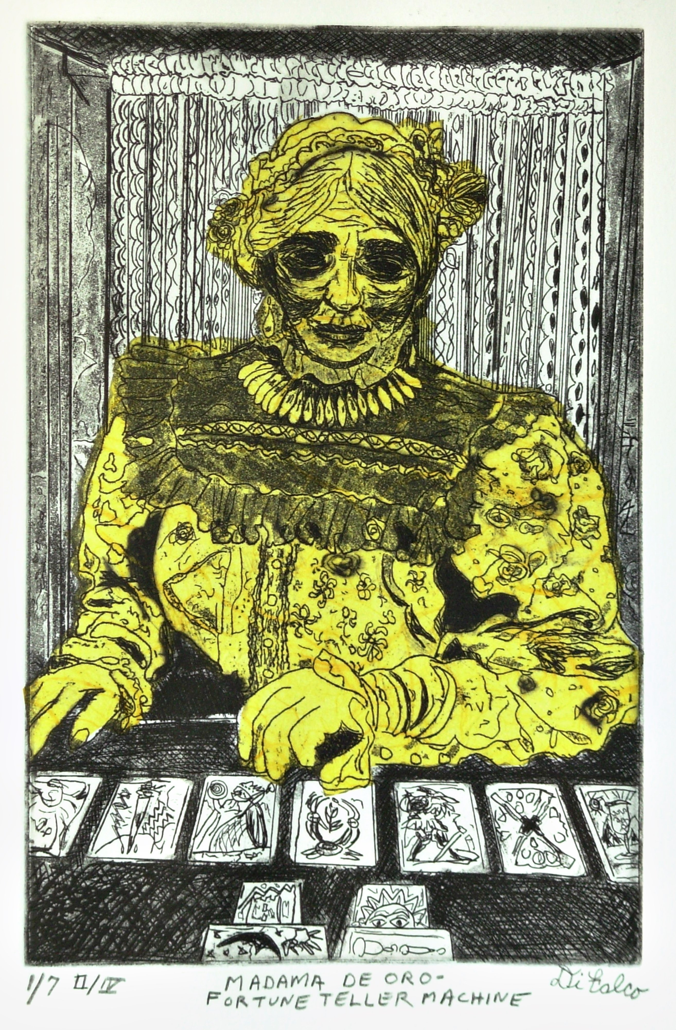 Jerry  Di Falco: 'Madama de Oro     The Fortune Teller Machine', 2015 Etching, Circus. Artist Description: The title of this etching is, Fortune Teller. This is from the FIRST Edition of FOUR, and the editions are limited to SEVEN etchings each. This etching was published as print number FOUR of SEVEN. The zinc plate employed for this work measured SIX inches wide by NINE ...
