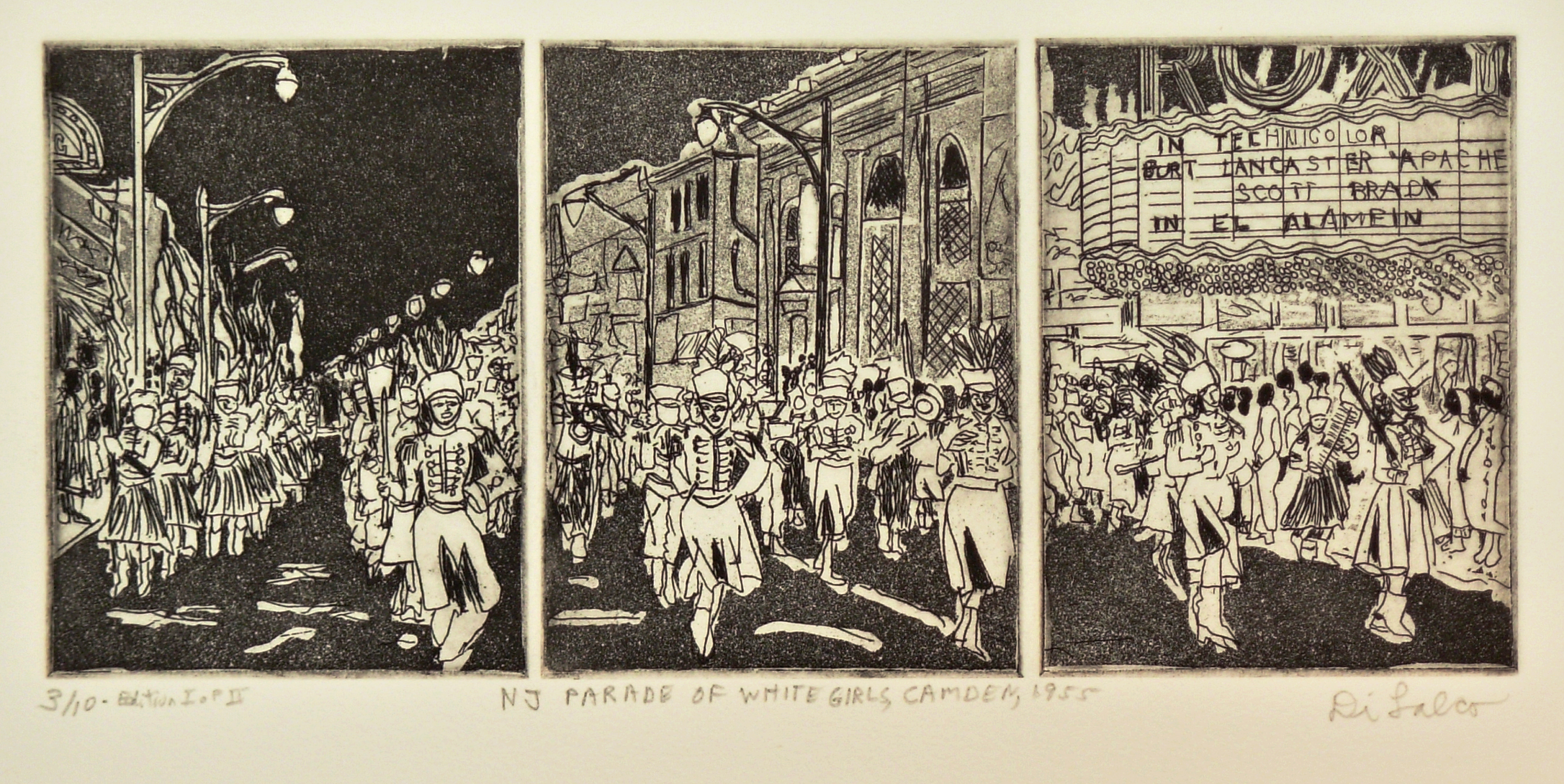 Jerry  Di Falco Artwork NEW JERSEY PARADE IN BLACK AND WHITE 1955, 2013 Intaglio, Americana