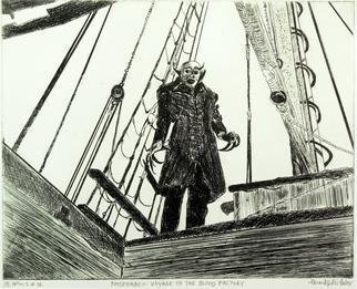 Jerry  Di Falco: 'NOSFERATU', 2013 Etching, Movies. Artist Description: Full title is, NOSFERATU, A Visit to the Blood Factory. This print, from my CINEMA series, is inspired by the classic German silent movie, this one being Nosferatu, whose original title was . . . Nosferatu, eine Symphonie des Grauens . . . shot in 1921 with a European release in 1922. This Expressionist ...