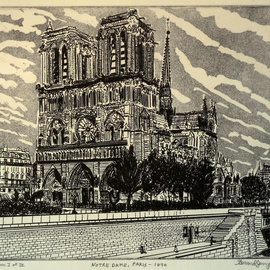 NOTRE DAME IN PARIS 1890 By Jerry  Di Falco