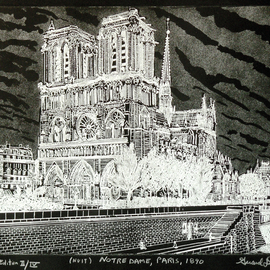 NOTRE DAME IN PARIS 1890   nuit
