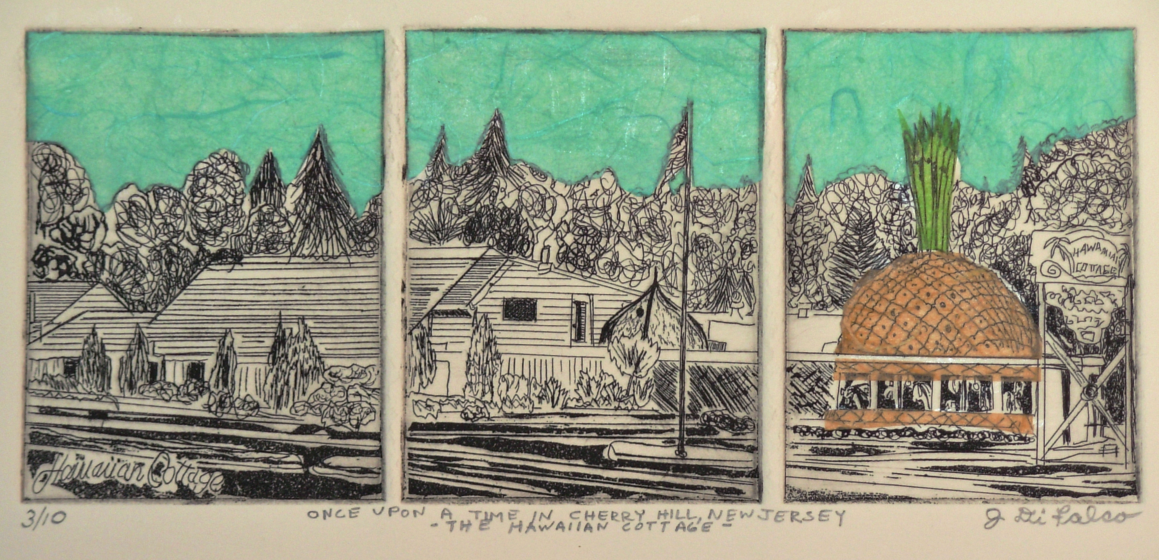 Jerry  Di Falco Artwork ONCE UPON A TIME IN CHERRY HIL NEW JERSEY OR THE HAWAIIAN COTTAGE, 2014 Etching, Americana