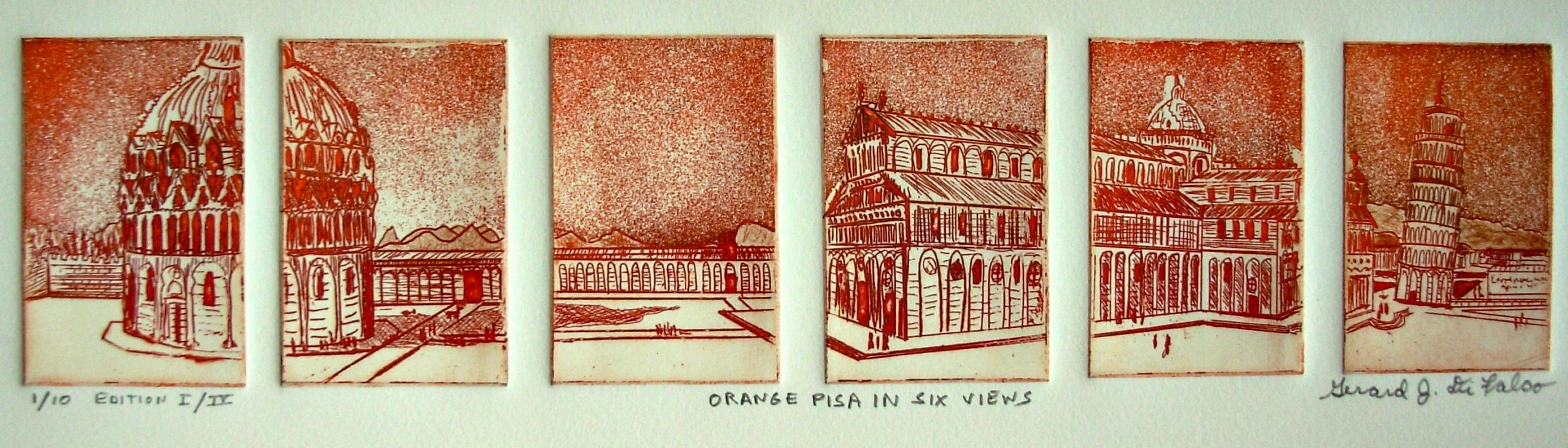 Jerry  Di Falco: 'ORANGE PISA IN SIX VIEWS', 2013 Etching, Architecture. This multiple plate etching takes its inspiration from a photo in The US Library of Congress, Print and Picture Department, Washington, DC, The Panoramic Photograph Collection. This Gelatin Silverprint, which was taken in 1909 by The Moffett Studios, depicts several Pisa landmarks including The Leaning Tower, Baptistery, and Cathedral. I ...