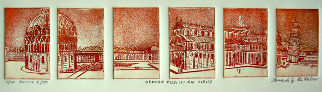 Jerry  Di Falco  'ORANGE PISA IN SIX VIEWS', created in 2013, Original Watercolor.