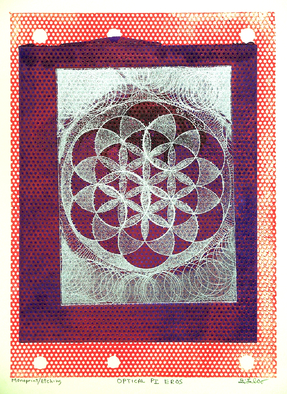 Jerry  Di Falco Artwork 'Optical  PI   Eros', 2014. Other Printmaking. Geometric. Artist Description: IMAGE SIZE BELOW IS FRAME SIZE. PRINTMAKING: This one- of- a- kind work combines two printmaking methods ( Etching: [ Intaglio & Aquatint] and Monoprinting) . Media ......