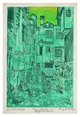 Jerry  Di Falco: 'POOR VENUCE IN DAFFODIL ILLUSION', 2016 Intaglio, Optical. Artist Description:  POOR VENICE IN DAFFODIL ILLUSIONThis etching used a zinc plate Measurements of Plate Six- inches wide by nine- inches high 15. 240cm x 22. 860cm and documents one of Venices many working- class neighborhoods circa 1890. The juxtaposition and balance of lines, forms, geometric language and shadows are ...