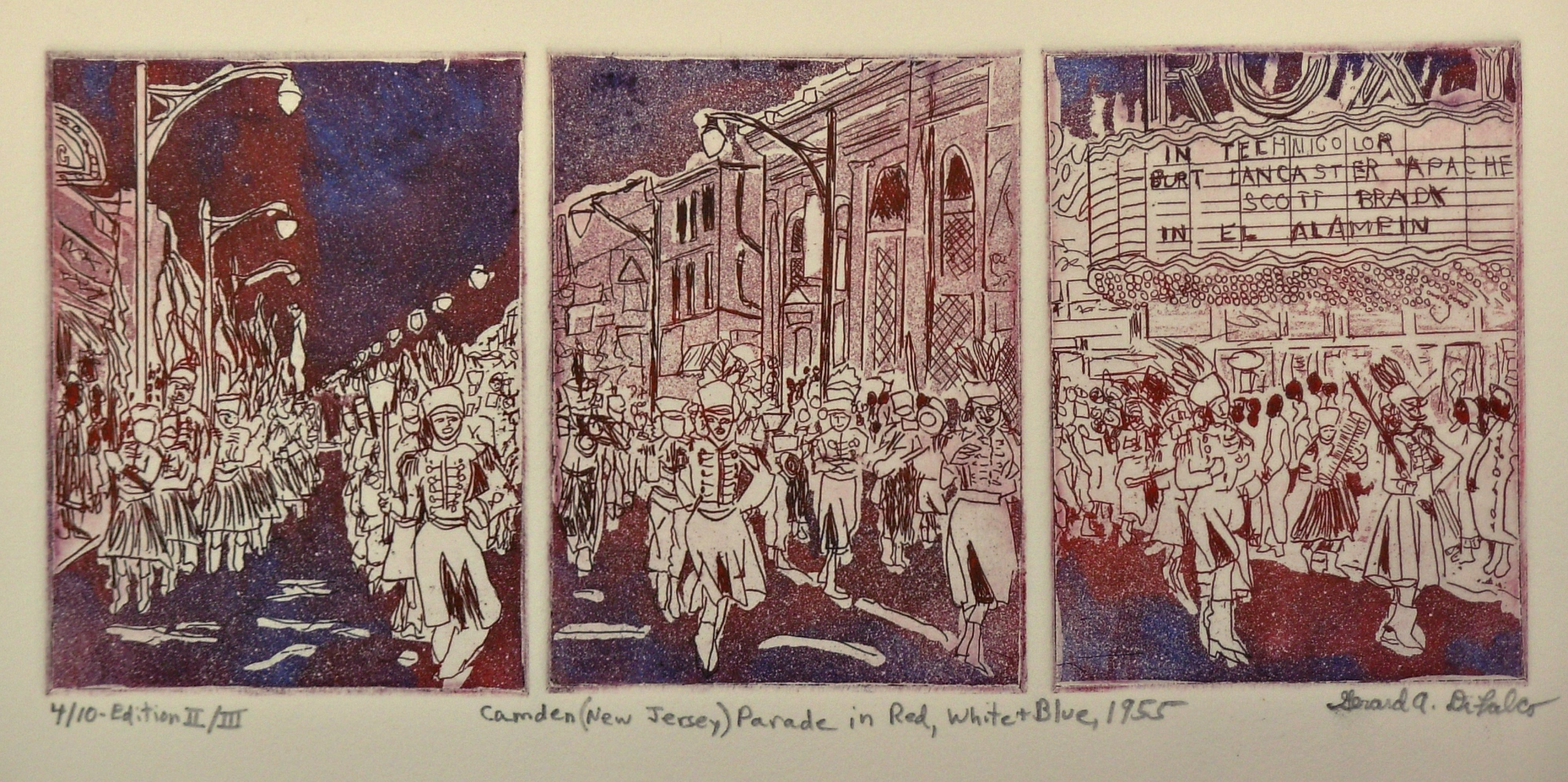 Jerry  Di Falco: 'Parade in Red White and Blue', 2014 Intaglio, Americana. THE TITLE IS, Camden New Jersey Parade in Red White and Blue, 1955. This artwork employs the ETCHING techniques of intaglio, drypoint, and aquatint I executed the etching in a blend of oil based  inks, Charbonnel brand from France, on RivesBFK white paper. This etching was created using three separate ...