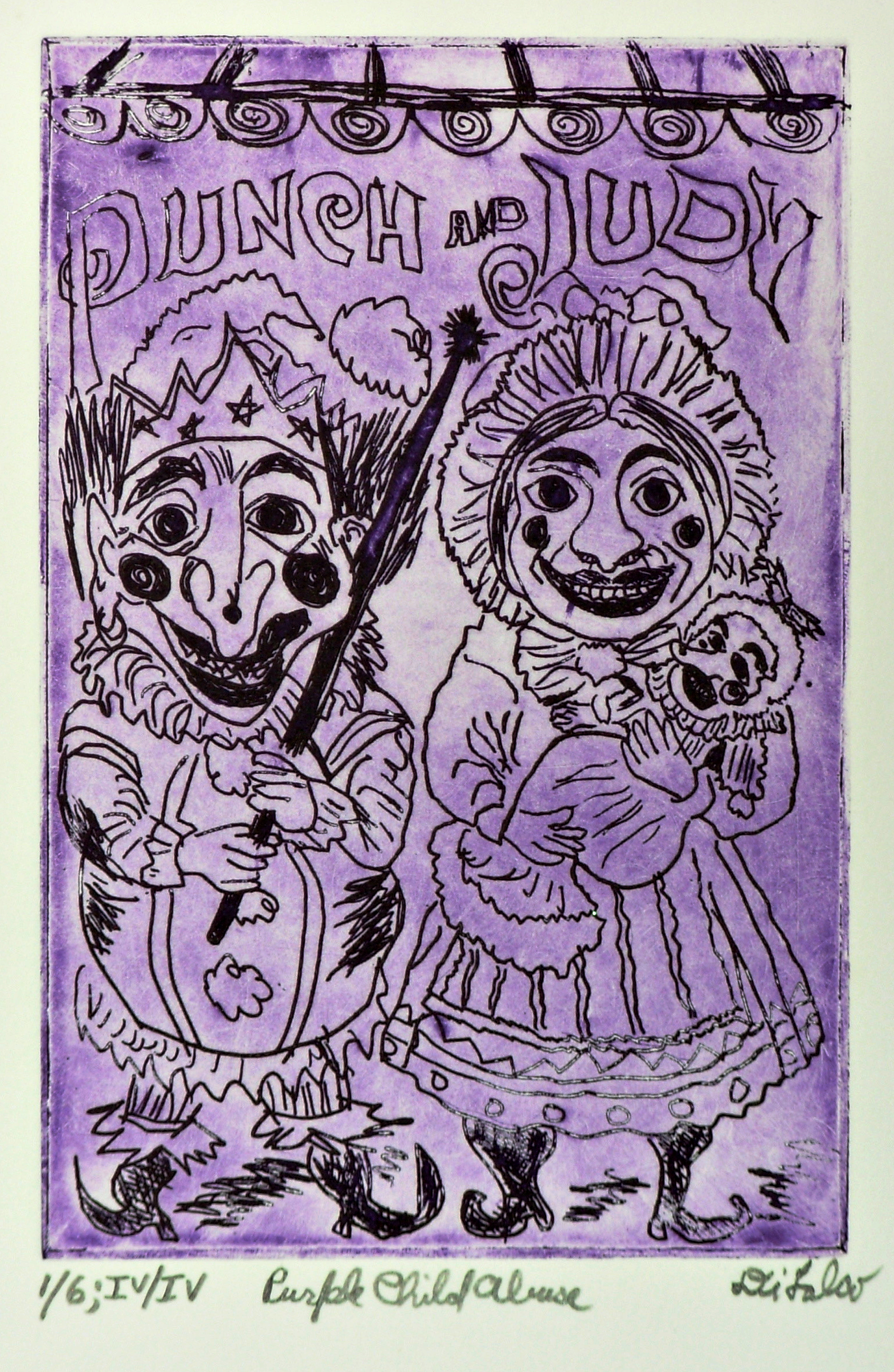 Jerry  Di Falco: 'Purple Punch and Judy', 2016 Intaglio, Theater. Artist Description:  Printmaking Etching, Drypoint, Oil, Paper and Ink on Paper and Other. This etching on zinc- plate plate is four inches wide by six highs high 10. 160cm x 15. 240cm is executed in oil- based, French etching inks and printed on Rives BFK white paper hand- torn paper ...