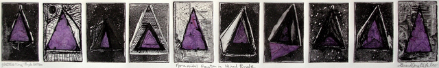 Jerry  Di Falco  'Pyramidal Equation In Purple', created in 2012, Original Watercolor.