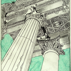 Jerry  Di Falco Artwork RUINS OF THE TEMPLE OF BACCHUS IN BAALBEK LEBANON, 2011 Etching, World Culture